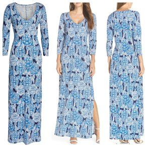 NWT $158 Lilly Pulitzer Blue Turtle Maxi Dress